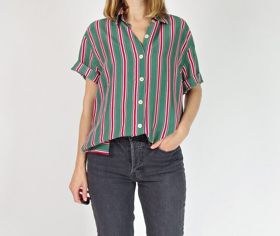 90s Silk pajama style shirt with vertical stripes / size M-L