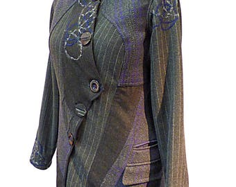 "Women's coat Wool coat winter coat gray and purple ""Anna"" T38 / 40"