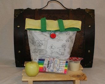 Boys lunch bag, lunch sack,color your own lunch bg