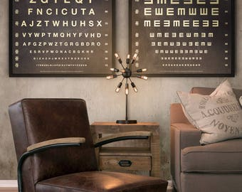 Eye Chart Print : Vintage Eye Chart art print poster - Optometry Print - Rustic Eye Chart Art