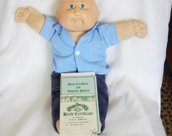 Vintage birth certificate etsy 1980s cabbage patch kid walt jordan boy with birth certificate adoption papers yadclub Choice Image