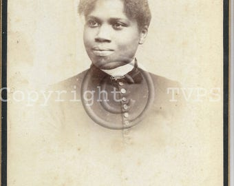 African American  Smiling Woman Cabinet Photograph
