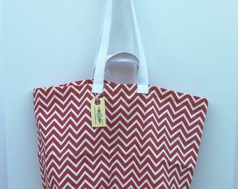 Canvas Bag: Coral Chevrons, washable