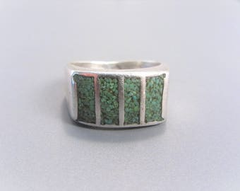 Vintage Green Turquoise Chip Inlaid Sterling Ring Size 8.5
