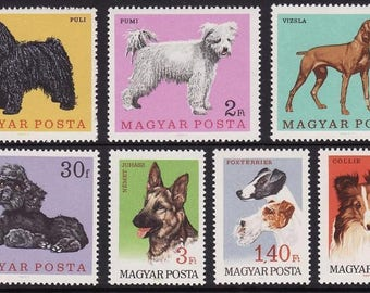 Set of 7 Dog Postage Stamps - 1967 Hungary - Altered Art, School Projects, Mixed Media, Handmade Cards