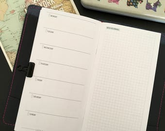 Standard Traveler's Notebook Insert Weekly Planner - WO1P with Grid - TN Inserts Printable - Traveler's Notebook Insert - TN Inserts -