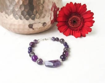 Amethyst bracelet, semi precious gemstone bracelet, amethyst and silver, mixed purple beaded bracelet, gift for her, Handmade in the UK