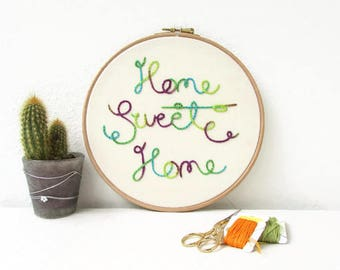 Home sweet home wall art, framed hand embroidery hoop art, hand dyed thread, bright home decor, gift for new home, handmade in the UK