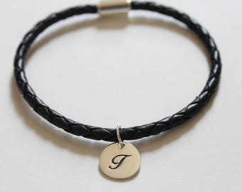 Leather Bracelet with Sterling Silver Cursive T Letter Charm, Bracelet with Silver Letter T Pendant, Initial T Charm Bracelet, T Bracelet