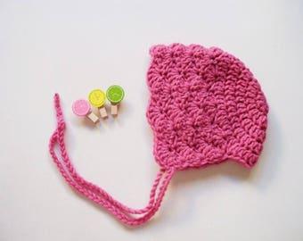 Baby Girl bonnet Newborn bonnet Crochet baby bonnet Vintage bonnet Pink newborn girl hat Newborn photo prop bonnet Baby Girl Hat bonnet