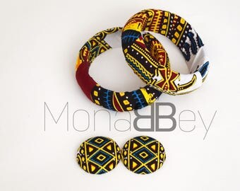 Set of 2 Handmade African Fabric Bangles & Large Stud Earrings, African Bracelets, Bracelets Africains, African Print Bracelets