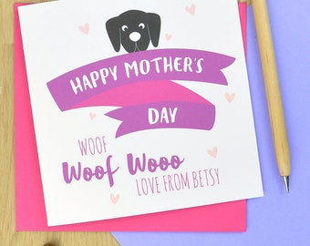 Mothers day card from the dog - personalised from the dog mother's day card, dog card for mum