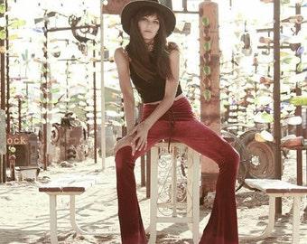 Lace Up Velvet Bells, bell bottoms, flares, stretchy, grommet pants