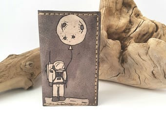 Mens Leather wallet / Astronaut wallet / Minimalist wallet / Space wallet / gift for him and her