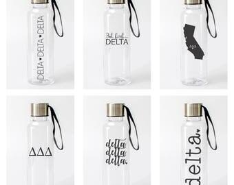 Delta Delta Delta Water Bottle / Delta Sorority Water Bottles / Pick from 6 Designs / TriDelta Bottle / Tri Delta Drinkware / Delta Tumbler