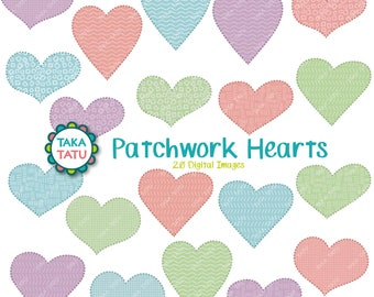 Patchwork Hearts Clipart - Patchwork Clipart / Blanket Stitches / Patchwork Heart / Fabric Clipart / Textured Clipart / Sewing Clipart