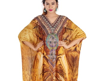 Luxury beach wear cover up full length embellished 100% silk caftan 170