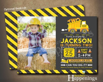 Construction Birthday Invitation Construction Birthday Party Construction Birthday Invite Dump Truck Invite  Digital File Busybee Happenings