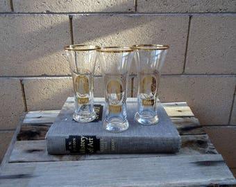 Vintage 5 COORS Gold Rim Beer Barrel Pilsner Glasses, Collectible COORS Glasses, Beer Glasses, Golden Colorado,