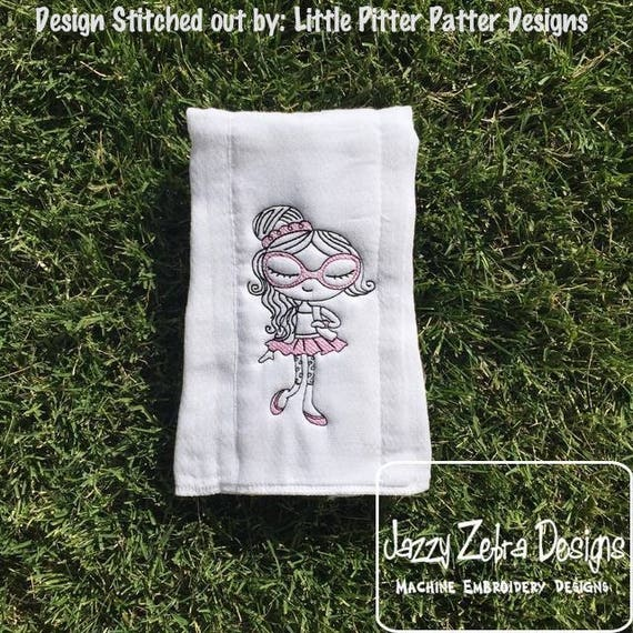 Swirly girl 2 sketch embroidery design - girl embroidery design - sketch embroidery design - vintage stitch embroidery - girl embroidery