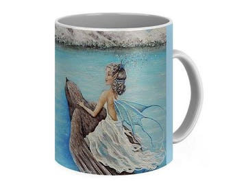 Fairy art mug, fairy and bird coffee mug,  unique fairy cup, original painting by Nancy Quiaoit