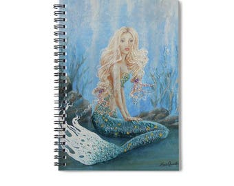 Mermaid lined spiral writing journal, blue mermaid blank book, mermaid lovers gift. , Original art by Nancy Quiaoit.