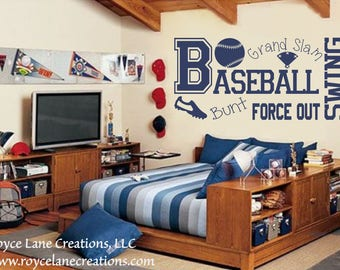 Baseball Wall Decal B13 Sports Vinyl Boys Room Teen Boy Decor