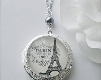 Eiffel Tower Locket Necklace Eiffel Tower Thick Glass Art Pendant I love Paris Eiffel Tower Locket Grey Glass Pearl Bead Locket Gift Idea