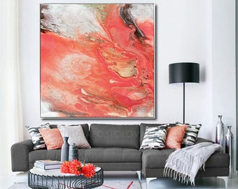 Large Watercolor Art Coral Print Salmon Color Decor Peinture Abstraite Peach Abstract