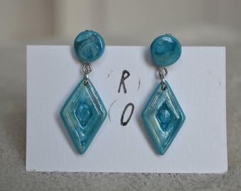 Earrings long fimo / polymer clay - smart / studs - geometric - Blue Diamond