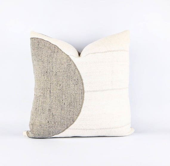 Authentic Natural White Africa Mudcloth Textile And Belgian Linen Pillow Cover 18x18