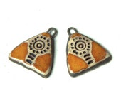 A pair of stoneware pendants RUSTIC and EARTHY, ceramic beads - handmade jewelry components