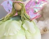 Faerie Figurine, Flower Fairy, Art Doll, Knick Knack, Tinker Bell, Colorful Flowers, Tiny Butterfly, Luna Moth, Fairy Wings, Pixie Dust