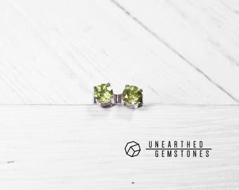 Gemstone Earrings -August Birthstone Jewelry, Peridot Earrings, Birthstone Earrings, Green Stud Earrings, Crystal Earrings
