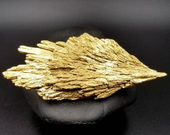 """Gold Black Kyanite for Cord Cutting Release and Alignment - Golden Phoenix Angel Wing - Starseed Goddess Crystal Wand 3.3"""""""
