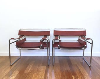Vintage Pair of Wassily Style Chairs, Leather and Chrome Mid Century Chairs, Marcel Breuer Tubular Chairs, Modern Chairs