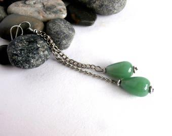 Long Dangle Earrings - Green Earrings - Chain Earrings - Extra Long Earrings