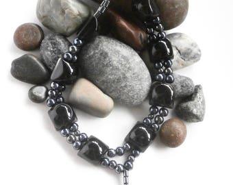 Hematite Necklace - Repurposed Jewelry - Double Strand Necklace