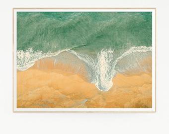 Sea Waves Wall Decor Print Poster Tropical Beach Marine Foam Retro Vintage Color Photo Nature Sea Minimalist Blue Water Photography 1026