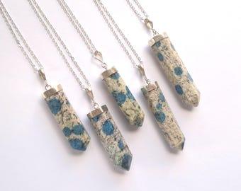 K2 Jasper Necklace K2 Necklace K2 Pendant K2 Stone Necklace K2 Jasper Jewelry Mineral Necklace Silver Boho Necklace Blue Stone Jewelry