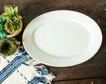 Vintage White Ironstone Platter, Antique Ironstone Tableware, Farmhouse Kitchen Dishes, Oval Ironstone Plate, White Serving Platter Tray