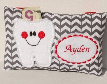 Boys Tooth Fairy Pillow - Tooth Fairy Pillow - Personalized Tooth Fairy Pillow - Tooth Pillow - Chevron Tooth Fairy Pillow - Gray Pillow