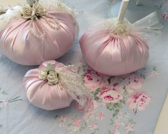 Pink Satin Fabric Pumpkin Trio