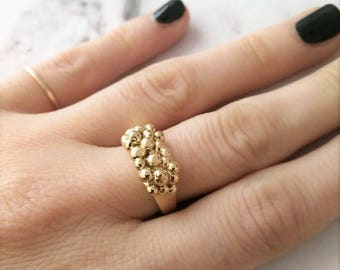 Dotted Gold Ring, Trendy Gold Ring, Gold Bubble Ring, Big Bubble Ring, Nugget Ring, Caviar Ring, Dotted Gold Ring, Tiny Bubble Ring.