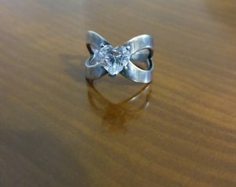 Sterling Silver Ring with Large Heart Cubic Zirconia Stone, Size 6.75
