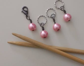 Pink Pearl Stitch Markers
