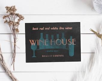 Vintage wine sign, wine art print, fake letterpress typography, 5x7 printable art download, wine art, retro print, wine digital art #1