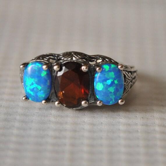 Sterling Silver Fire Garnet Opal Ring Sz 6 #9754