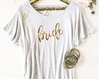 Bride Tunic - Matron of Honor Shirt - Maid of Honor Tunic - T Shirt - Bridesmaid Top - Mother of the Bride Tunic - Bridal Party Shirt 3202BP