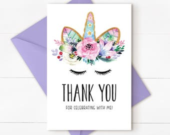 Unicorn Thank you card, Unicorn Thank you Note, unicorn instant download thank you card, printable, UNICORN PURPLE - DOWNLOAD